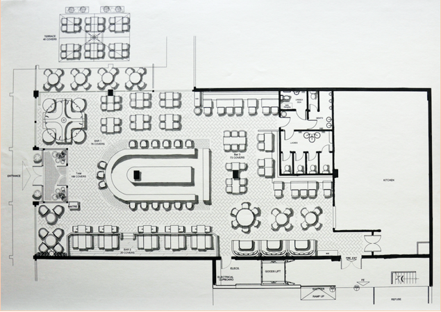 Interior of Restaurant Floor Plan